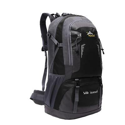 60L Large Waterproof Outdoor Backpack Hiking Camping Travel Rucksack Bag Blk