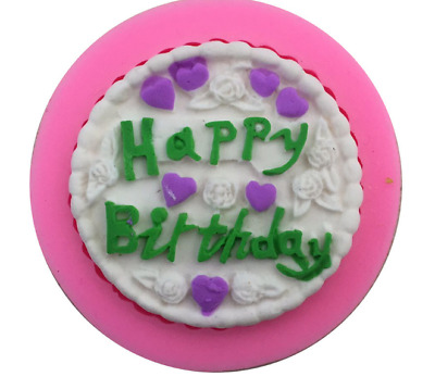 Happy Birthday Silicone Icing Mould Baking Chocolate Cake Topping Decorating