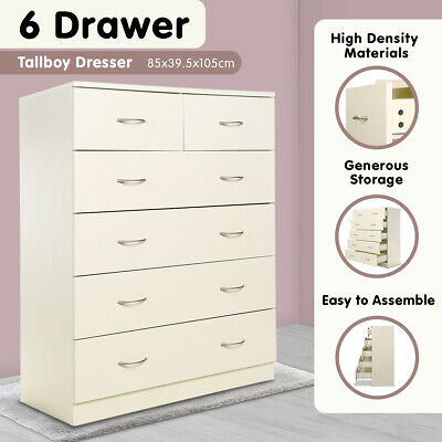 New Tallboy Dresser 6 Chest of Drawers Table Cabinet Bedroom Storage White