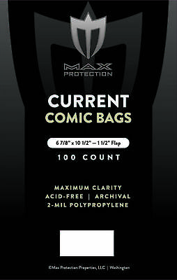 2000 Max Pro Current / Modern Comic Book Archival Poly Bags - 6 7/8 X 10 1/2
