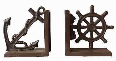 Nautical Anchor & Ship's Wheel Metal Bookends Set Functional Display 9.5x14x26cm