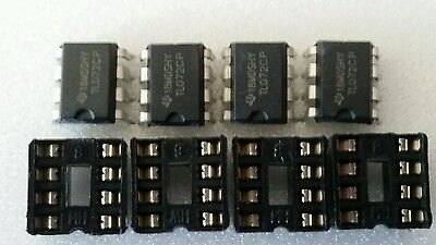 4 x Texas Instruments TL072CP TL072  and 8 pin dip socket  USA Seller