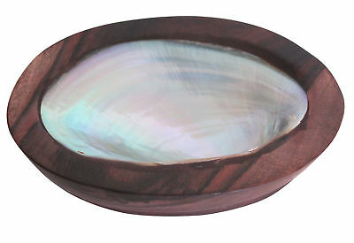 Wooden Soap Dish Holder with Natural Sea Shell Mussel Medium Size