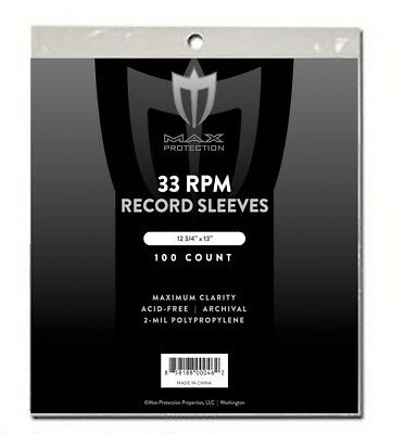 100 Record Storage Sleeves Plastic Outer 33 RPM LP Covers Album Holders Max Pro