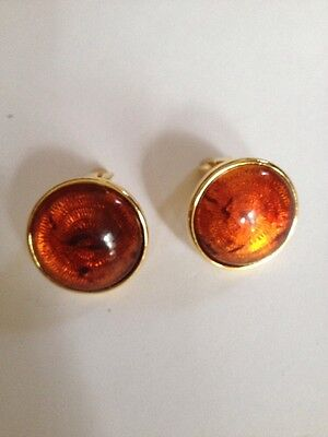 Joan Rivers GoldTone Round  Amber Color Cabochon Clip Earrings (G409)