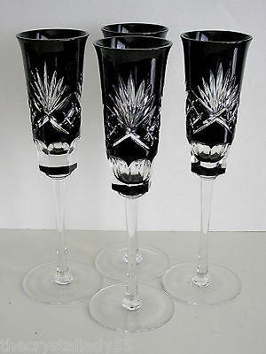 AJKA BLACK ONYX CASED CUT TO CLEAR CRYSTAL CHAMPAGNE FLUTES Set of 4