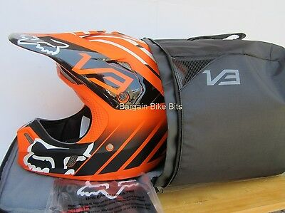 FOX V3 MOTOCROSS HELMET NEW & HELMET CARRY BAG rrp$529 KTM Orange Med Lg  MX