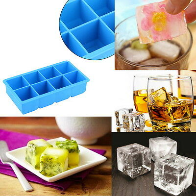 8-Cavity Large Silicone Drink Ice Cube Pudding Jelly Soap Mold Mould Tray ZY