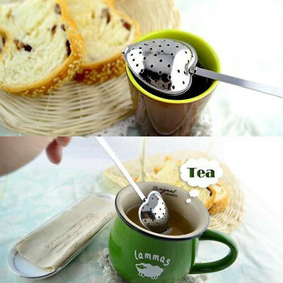 Hot Heart Shape Stainless Steel Tea Leaf Herbal Filter Infuser Spoon Strainer ZY