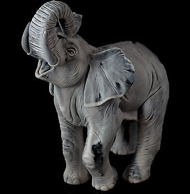 Elephant Trunk Up Marble Sculpture Russian Art Animal Figurine Stone Statue 6.7""