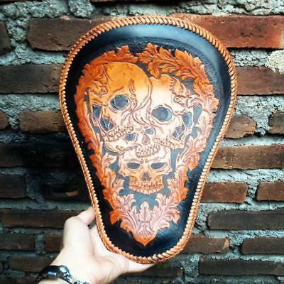 Motorcycle Seat for Harley Chopper Bobber Custom Solo Handmade Genuine Leather