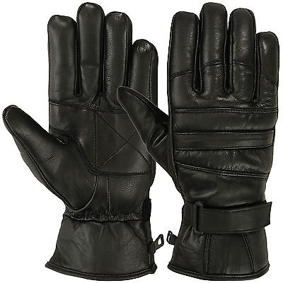 Mens Warm Winter Gloves Dressing Glove Motorcyle Thermal Lining Genuine Leather