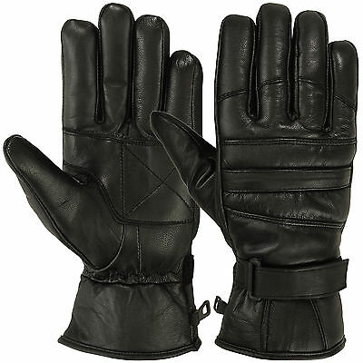 Mens Warm Winter Gloves Dressing Glove Thermal Linning Genuine Leather Black