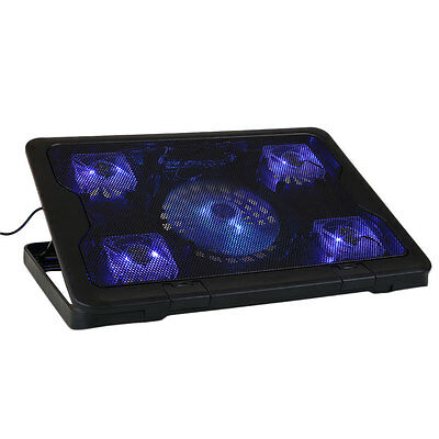 """Slim 5 Fans Notebook Cooling Pad Cooler For Up To 17"""" inch Laptop PC w/ Blue LED"""