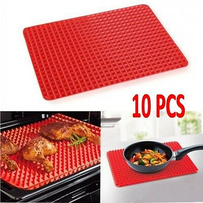 10PCS Pyramid Pan Non Stick Reduce Fat Silicone Cooking Mat Oven Bake Tray Sheet