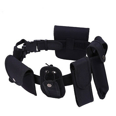 Tactical Security Police Guard Utility Kit Nylon Duty Belt w/ Pouch System Black