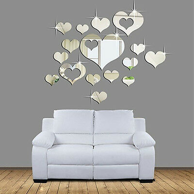 16pcs Romantic Love Hearts Decor Home Room Mirror Wall Stickers Decals DIY ZY