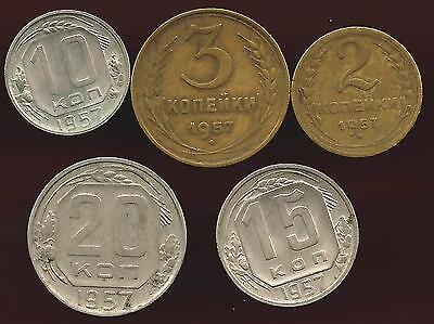 Russia 1957 Lot Of 5 Coins
