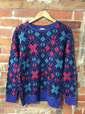 VINTAGE CHRISTMAS JUMPER SWEATER KNITTED BLUE 80's OVERSIZED SIZE MEDIUM (XJ63)