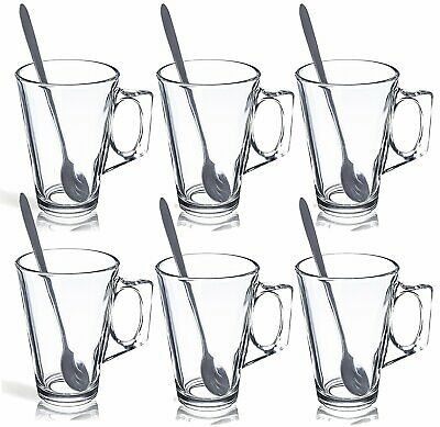 6 x 240ml Latte Glasses Tea Cappuccino Glass Tassimo Costa Coffee Cups Mugs