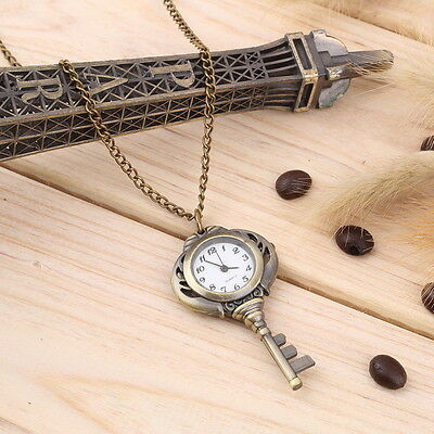 New Fashion Antique Retro Alloy Key Shaped Pendant Pocket Watch Key Chain ZY