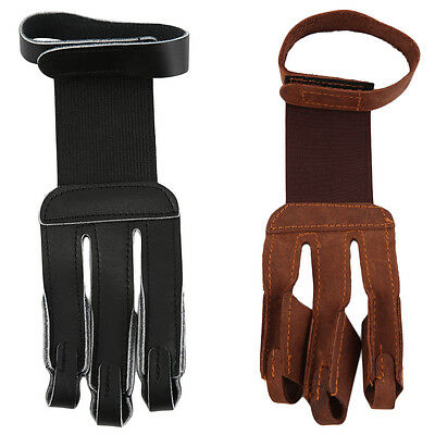 Archery Protect Glove 3 Fingers Pull Bow arrow Leather Shooting Gloves ZY