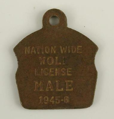 Vintage Pressed Wood Military Dog Tag NATIONWIDE WOLF LICENSE Male 1945-46