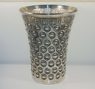 Solid Sterling Silver Ornated Tall Vase  Wine Champagne Cooler Decor Ilaria Peru