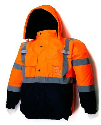 High visible Safety Bomber Jacket Class 3 winter waterproof insulate - Orange