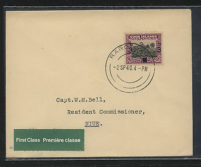 Cook  Islands revalued stamp on cover to Niue  1940       MS0818
