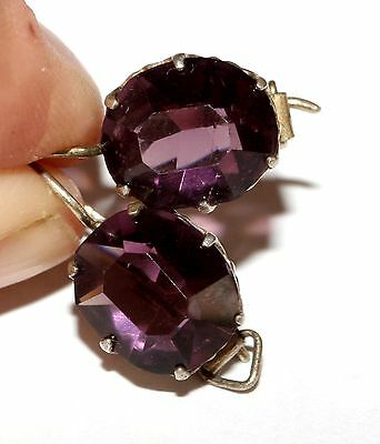 Beautiful AMETHYST Earrings Silver Gold plated 875 USSR Antique
