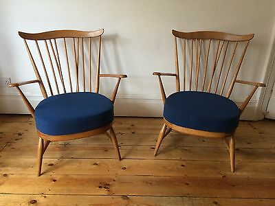 Vintage Mid Century Ercol Goldsmith Armchairs x 2 Available Reupholstered Rare