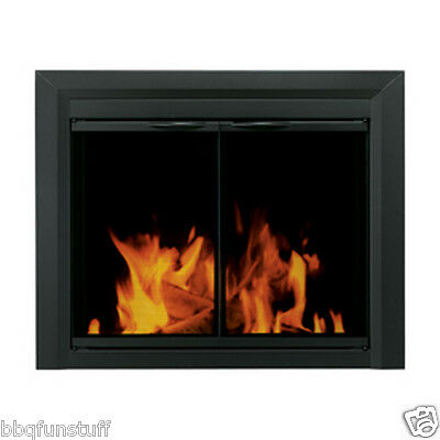 Pleasant Hearth Glass Fireplace Door Carlisle Black Large Mesh Screen CL-3002 **