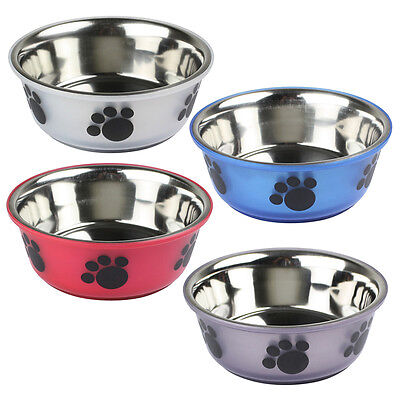 Stainless Steel Pet Dog Cat Food Water Bowl Bowls Feeding Paw Design Non Slip