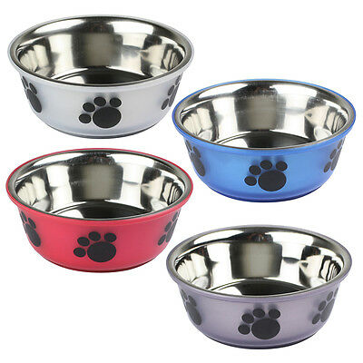 Non Slip Stainless Steel Cat Puppy Dog Pet Bowl Dish Water Food Feeding 2 Sizes