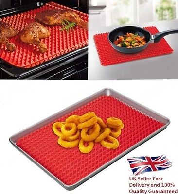 NEW Pyramid Fat Reducing Silicone Baking Tray Oven Pan Cooking Mat high quality