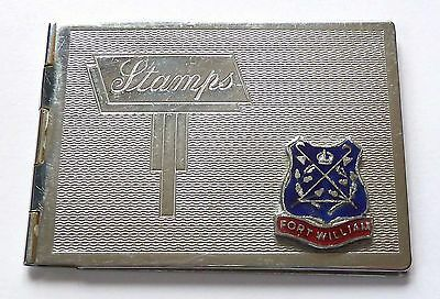A Vintage Art Deco Chrome Plated Stamp Case With Fort William Enamel Plaque