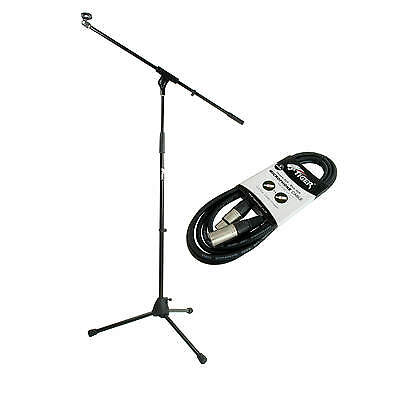 Tiger Professional Black Boom Microphone Stand with Mic Clip and 3