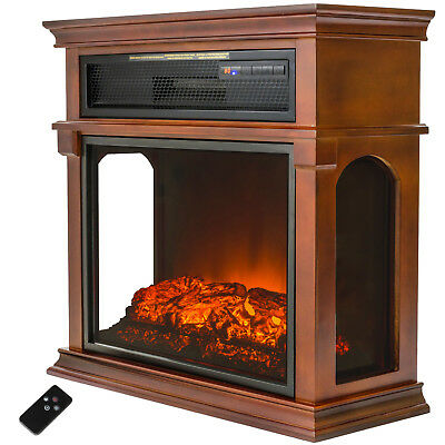 "29"" Freestanding Adjustable Setting Wood Style Electric Fireplace Heater Remote"