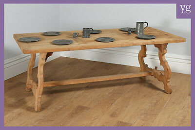 Antique French / Spanish Farmhouse Bleached Oak Kitchen Refectory Dining Table