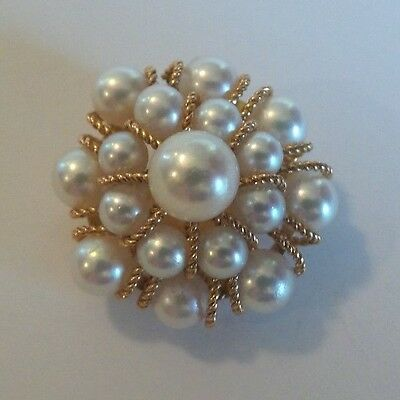 "Gorgeous Vintage Estate 14K Gold & Pearl ""flower"" Brooch / Pin, 7.8 Grams"