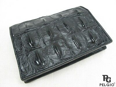PELGIO Genuine Crocodile Alligator Skin Leather Passport Holder Wallet Black