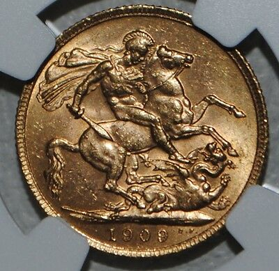 1909 Great Britain Gold Sovereign, NGC MS63 BU SOV Uncirculated