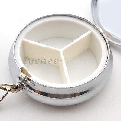 Pill Storage Box Waterproof Round Keychain Medicine Holder Travel Key Ring Decor