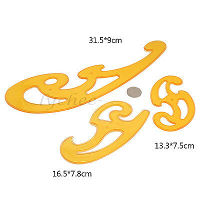 3pcs French Curve Template Ruler Stencil Drafting Sewing Designer Drawing DIY