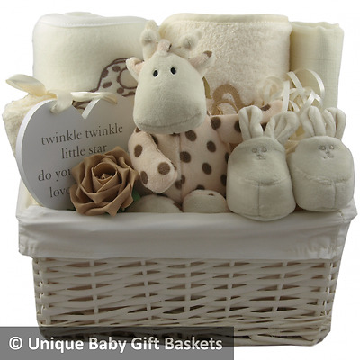 Baby gift basket/hamper cream unisex neutral baby shower nappy cake baby gift
