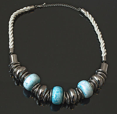 Gorgeous necklace with very large marbled turquoise and silver plated beads