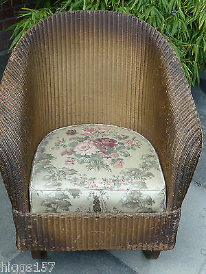 Very Rare Lloyd Loom Metal Sprung Base Rocking Chair In Gold, Original Condition