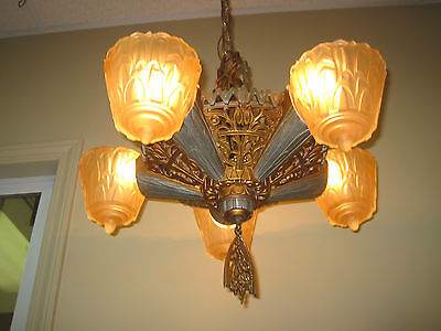 1930s Art Deco Lincoln Slip Shade Style Fixture light