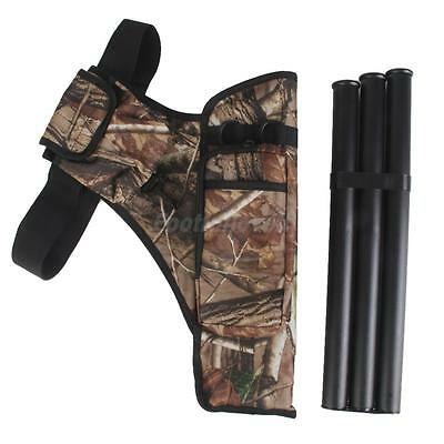 Outdoor Forest Hunting Archery Accessories - Camo Belt Quiver Bag & 3 Tubes